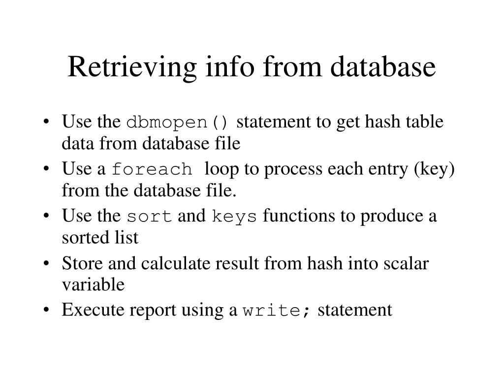 Retrieving info from database