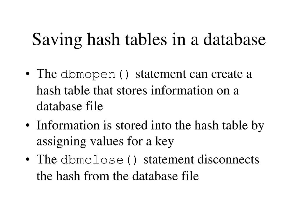 Saving hash tables in a database