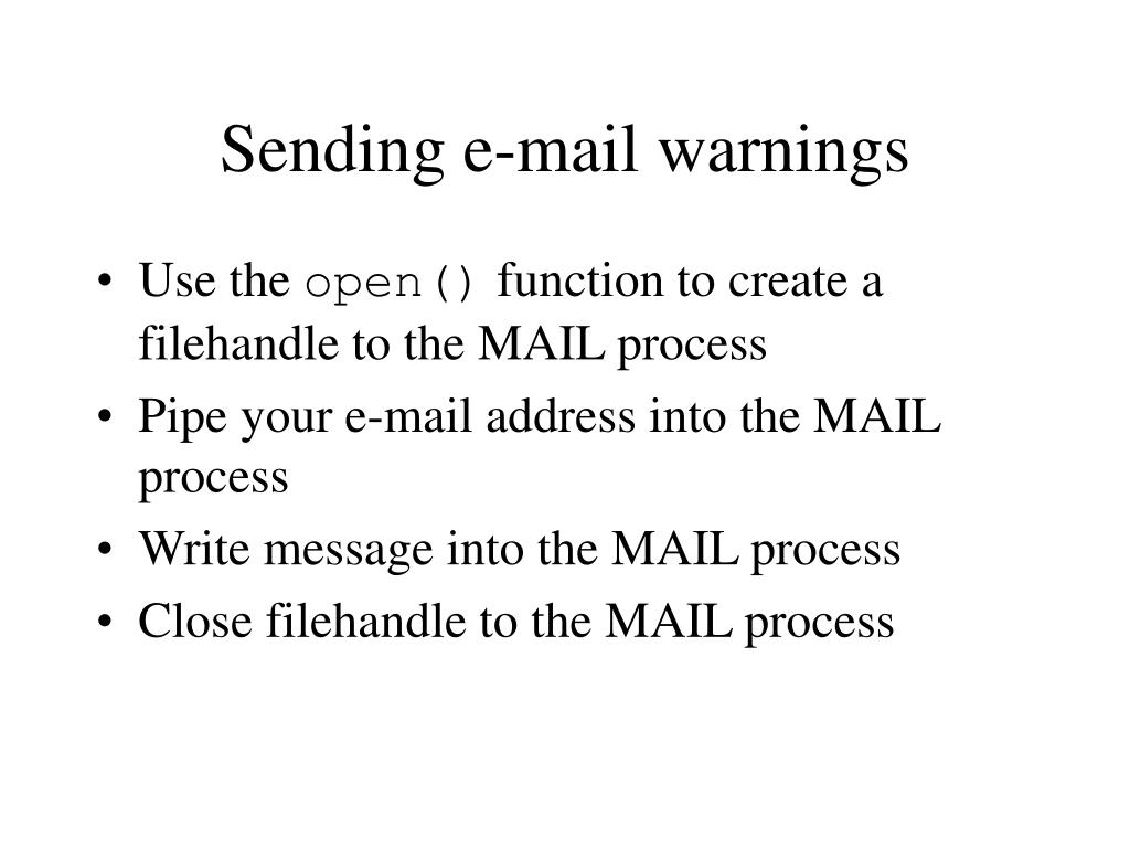 Sending e-mail warnings