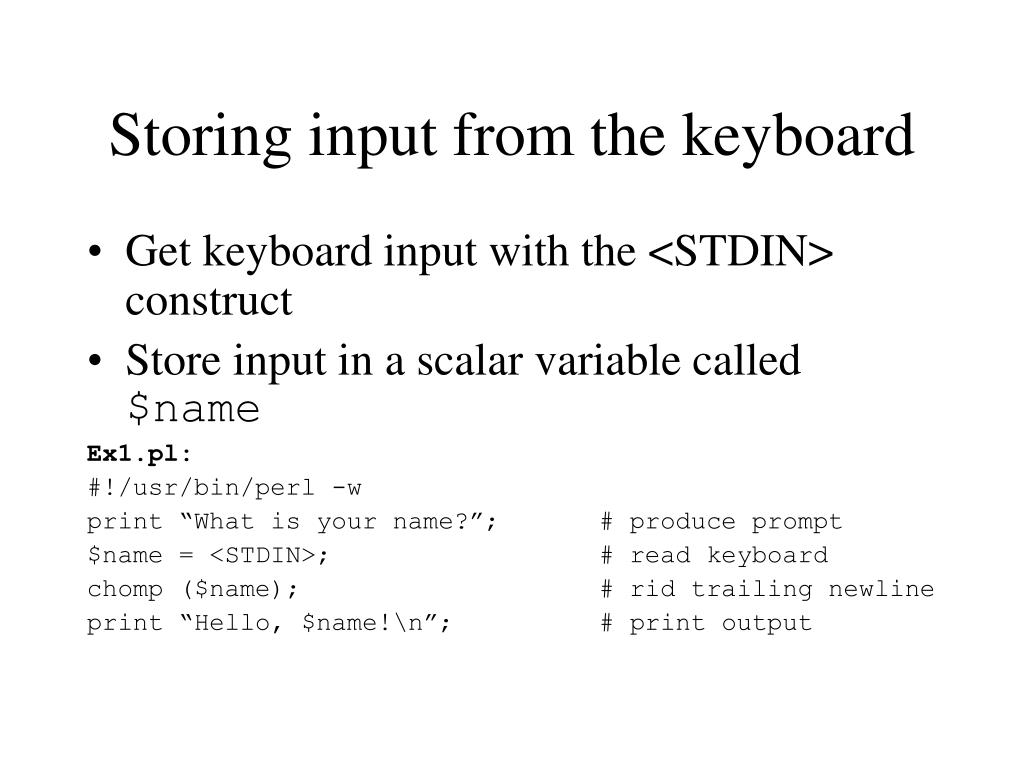Storing input from the keyboard