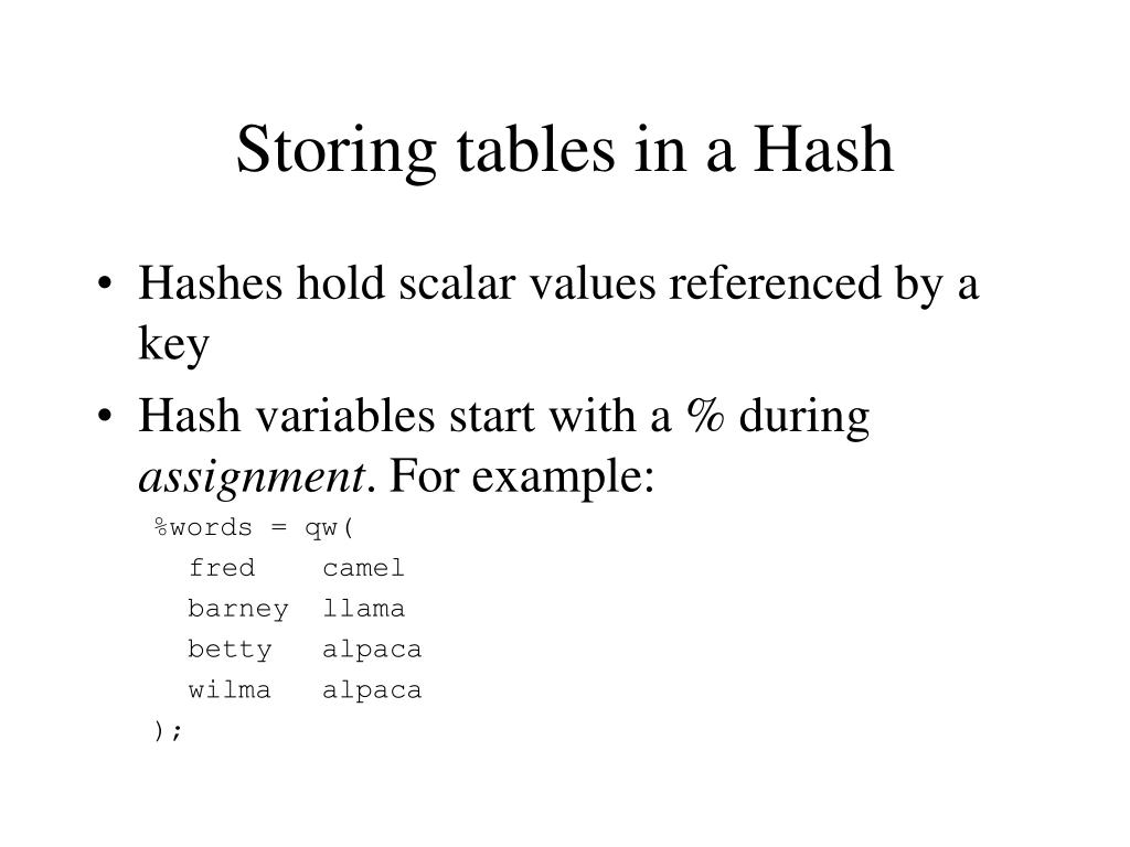 Storing tables in a Hash