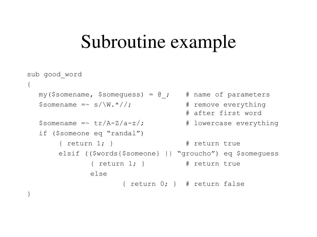 Subroutine example