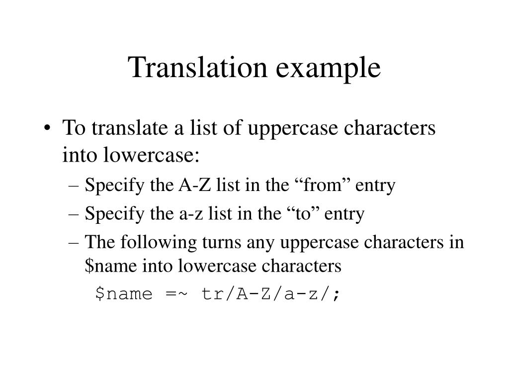 Translation example