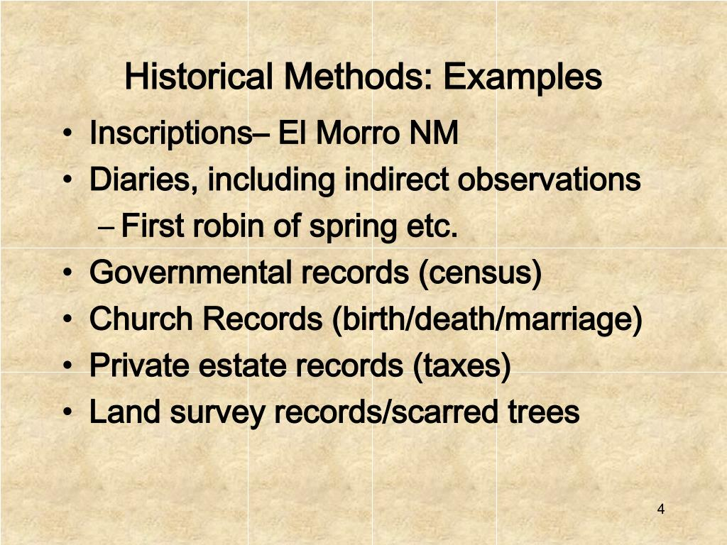 Historical Methods: Examples