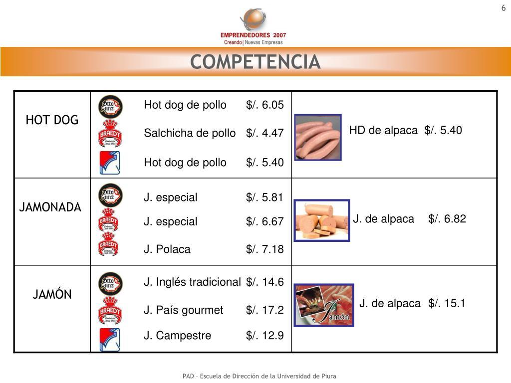 Hot dog de pollo$/. 6.05