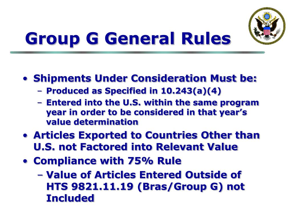 Group G General Rules