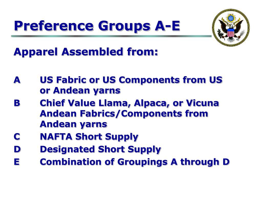 Preference Groups A-E