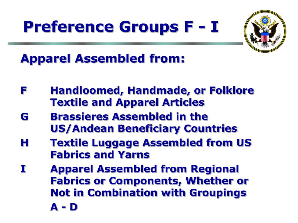 Preference Groups F - I