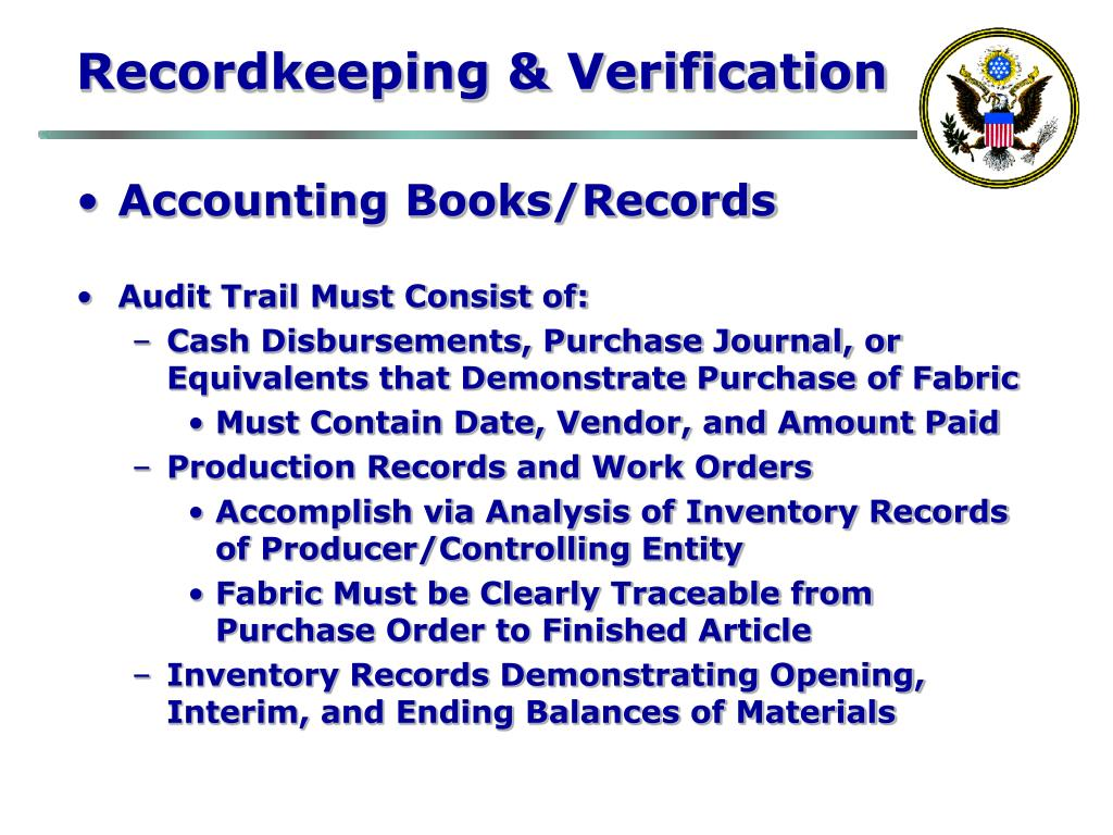 Recordkeeping & Verification