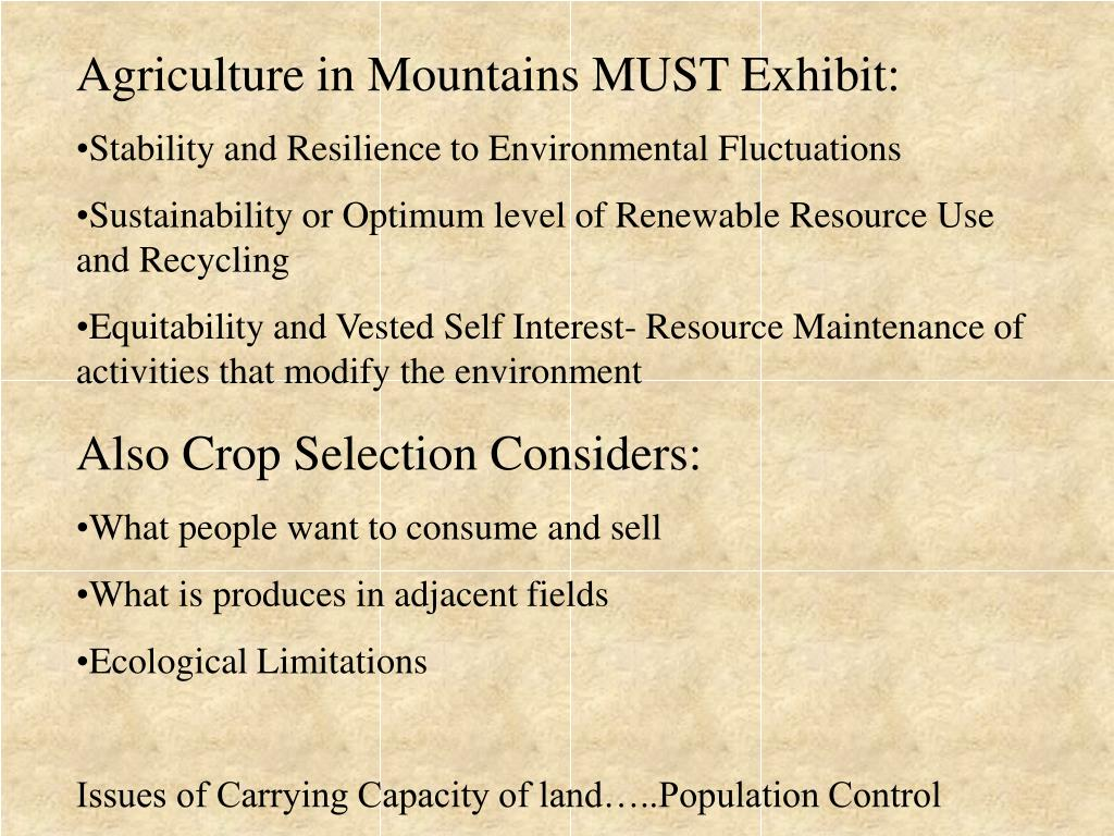 Agriculture in Mountains MUST Exhibit: