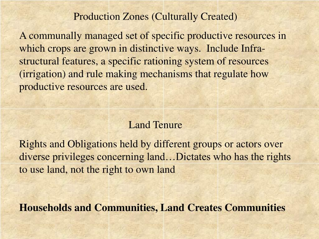 Production Zones (Culturally Created)