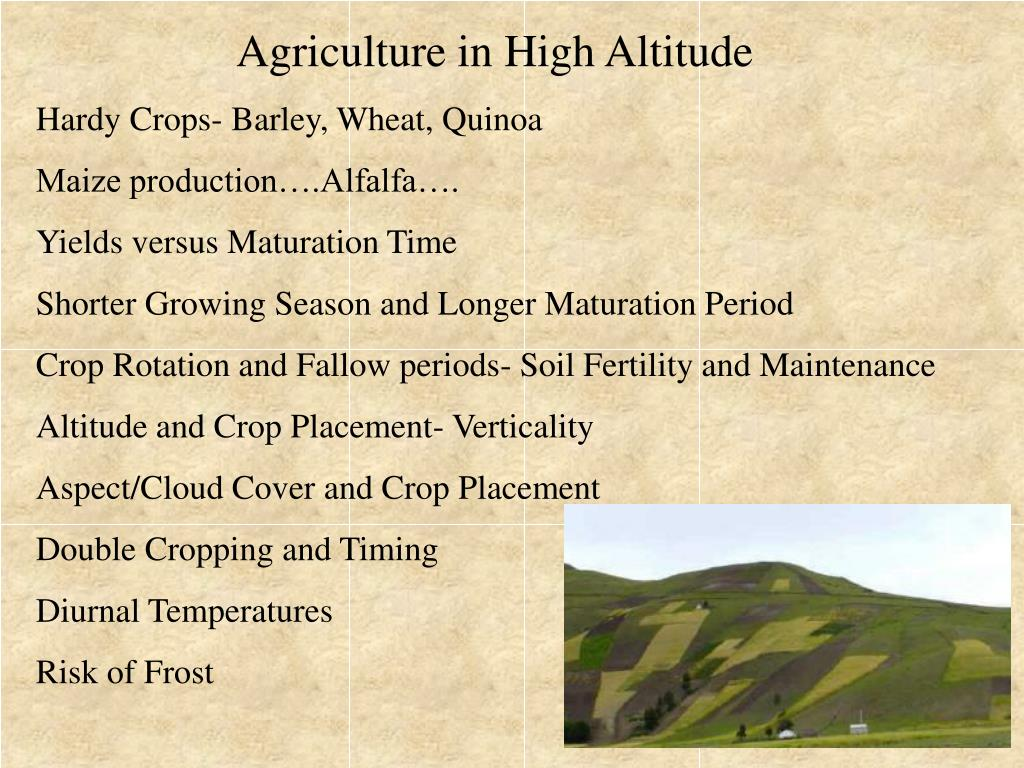 Agriculture in High Altitude