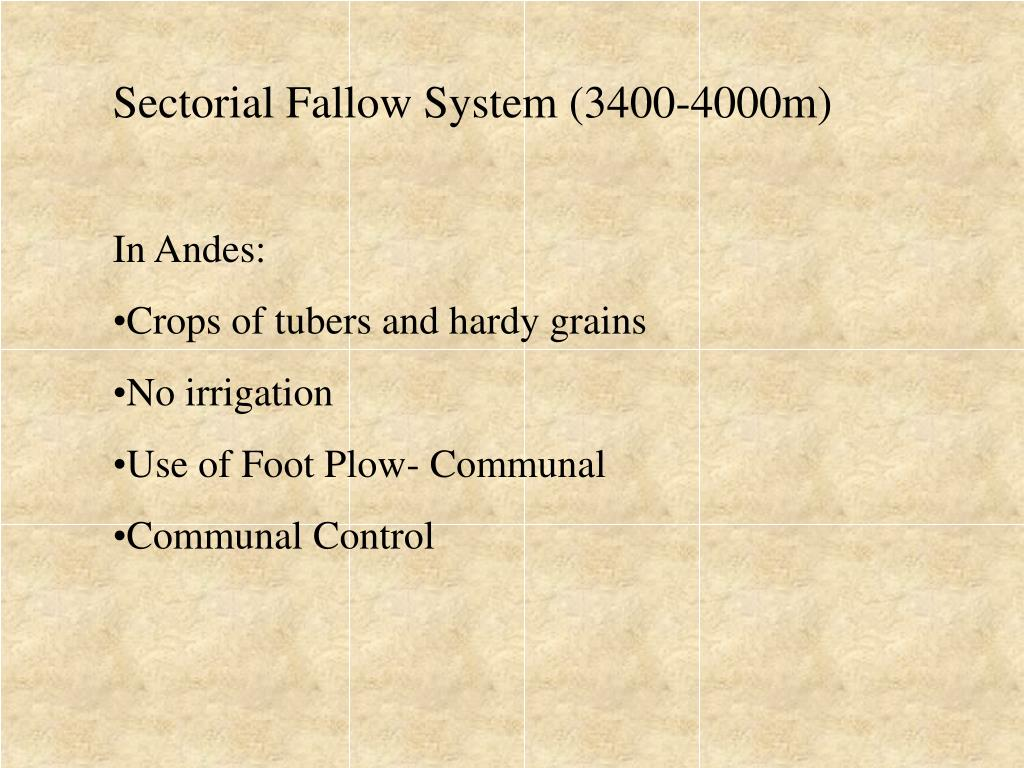Sectorial Fallow System (3400-4000m)