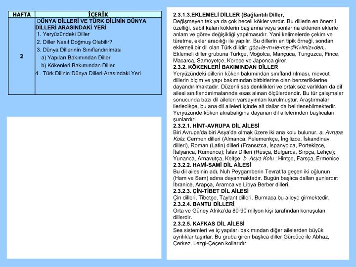 2.3.1.3.EKLEMELİ DİLLER (Bağlantılı Diller,