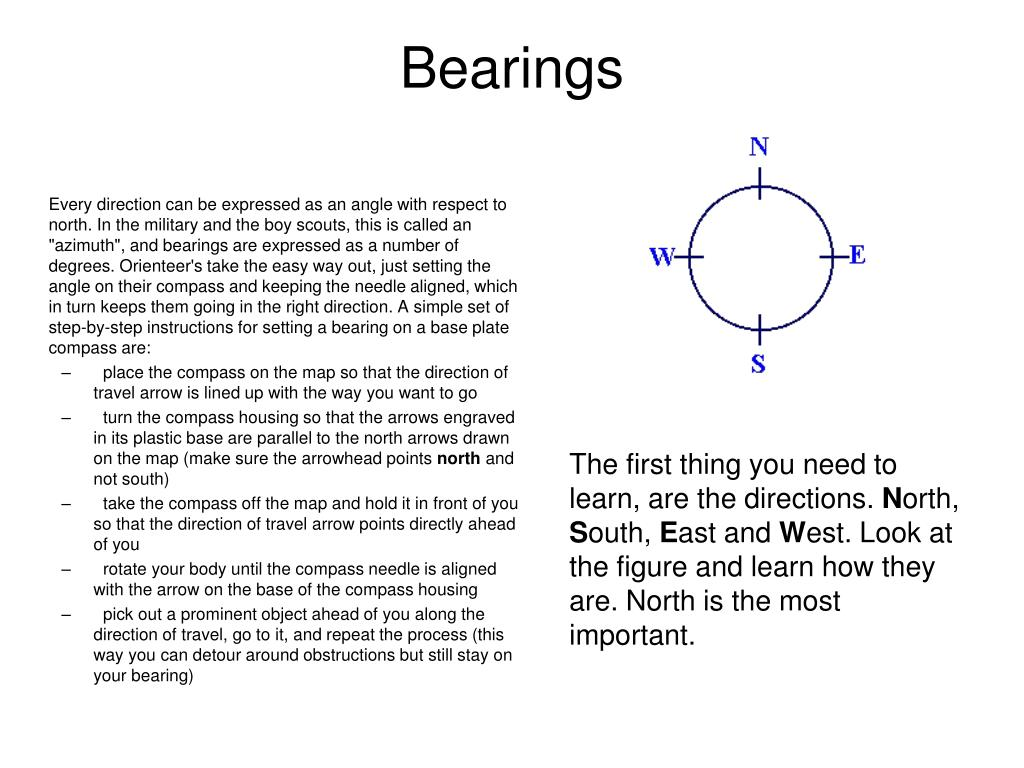 """Every direction can be expressed as an angle with respect to north. In the military and the boy scouts, this is called an """"azimuth"""", and bearings are expressed as a number of degrees. Orienteer's take the easy way out, just setting the angle on their compass and keeping the needle aligned, which in turn keeps them going in the right direction. A simple set of step-by-step instructions for setting a bearing on a base plate compass are:"""