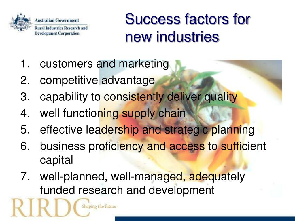 Success factors for new industries