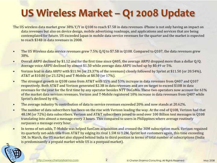 Us wireless market q1 2008 update
