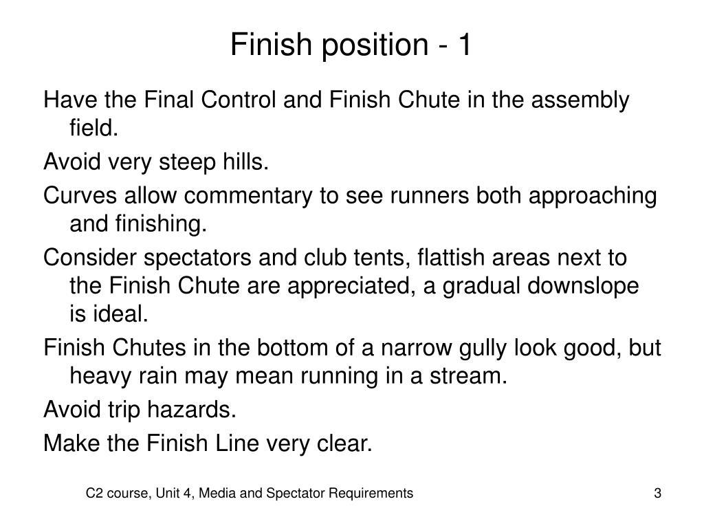 Finish position - 1