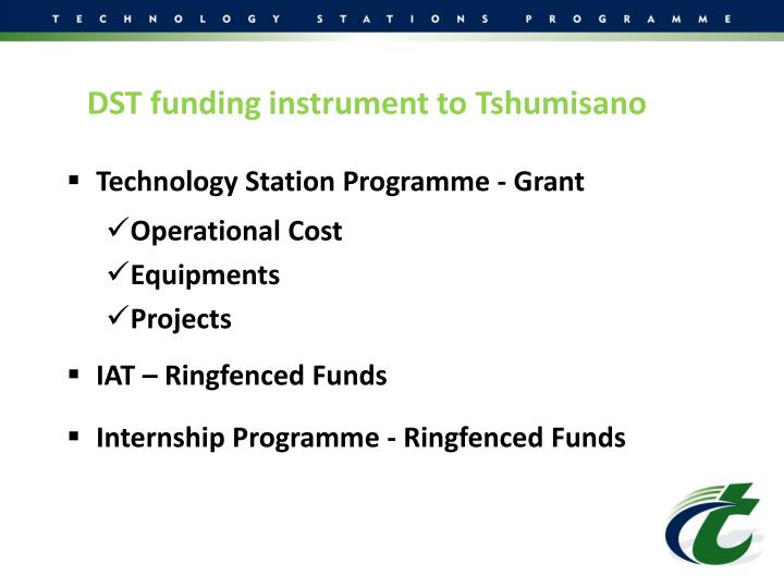 DST funding instrument to Tshumisano
