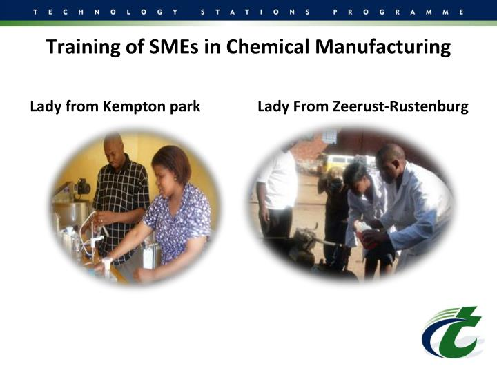 Training of SMEs in Chemical Manufacturing