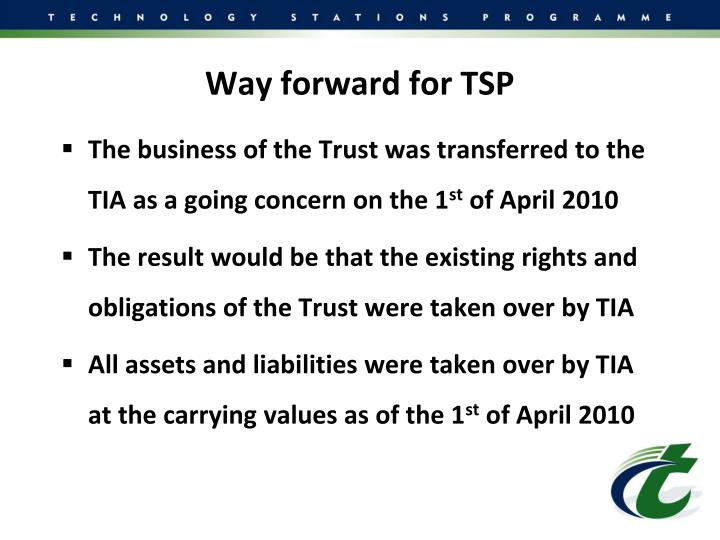 Way forward for TSP