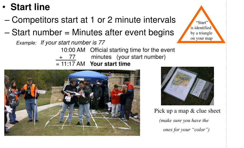 Competitors start at 1 or 2 minute intervals