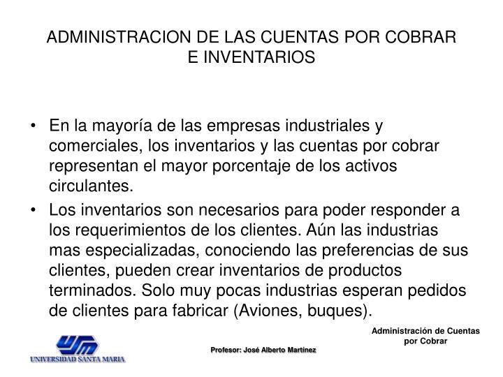 ADMINISTRACION DE LAS CUENTAS POR COBRAR