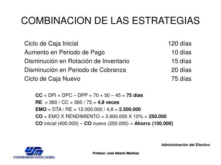 COMBINACION DE LAS ESTRATEGIAS