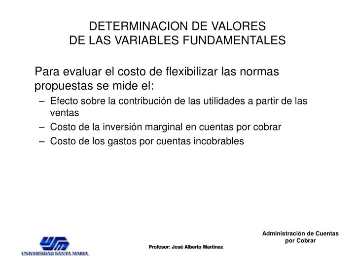 DETERMINACION DE VALORES