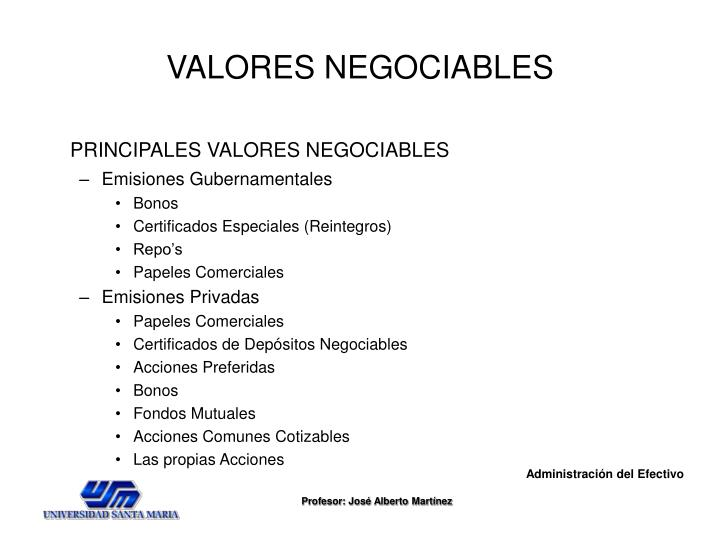 VALORES NEGOCIABLES