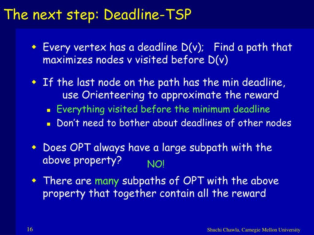 The next step: Deadline-TSP