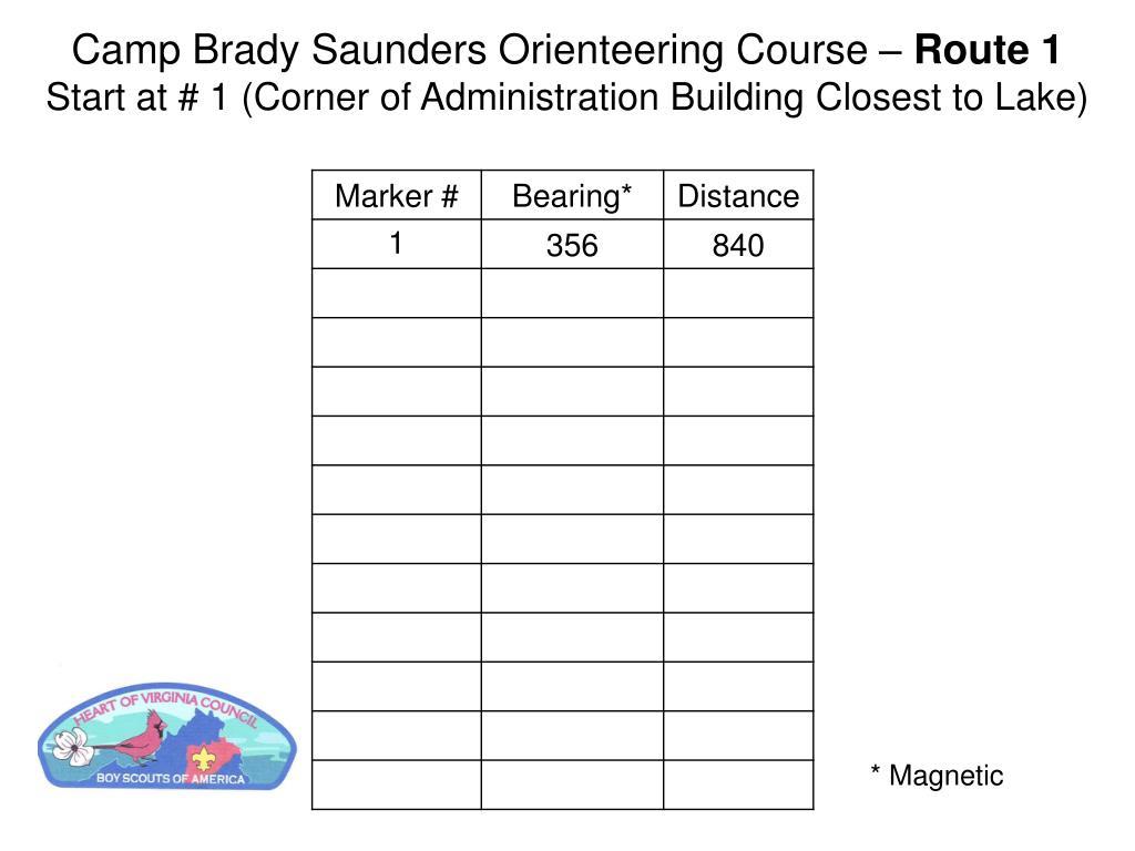 Camp Brady Saunders Orienteering Course –