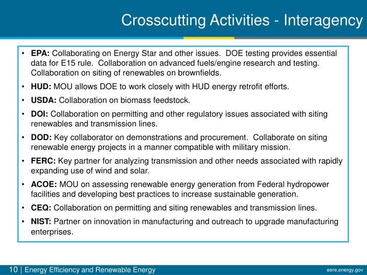 Crosscutting Activities - Interagency
