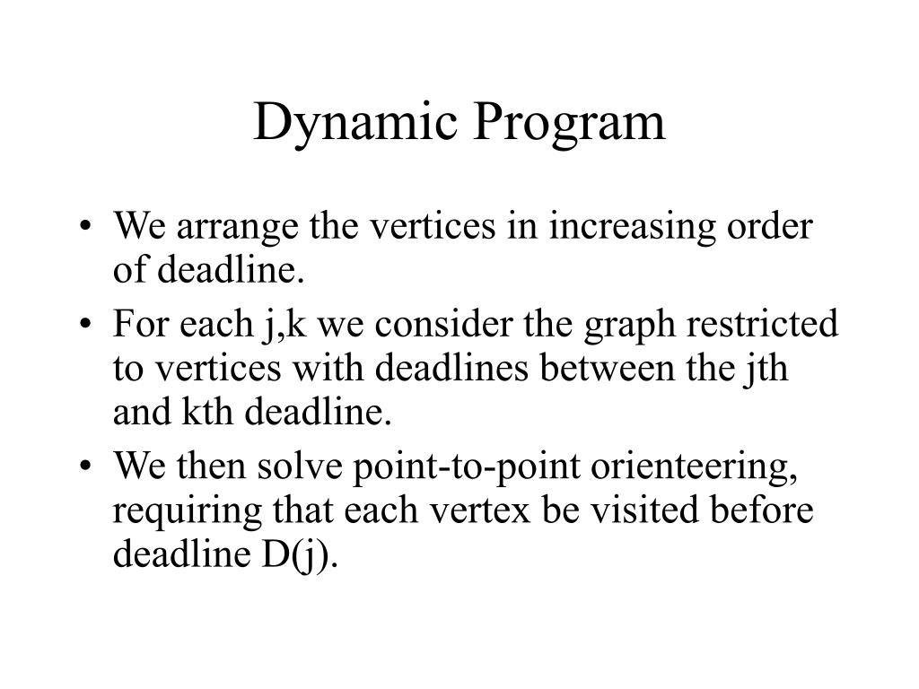 Dynamic Program