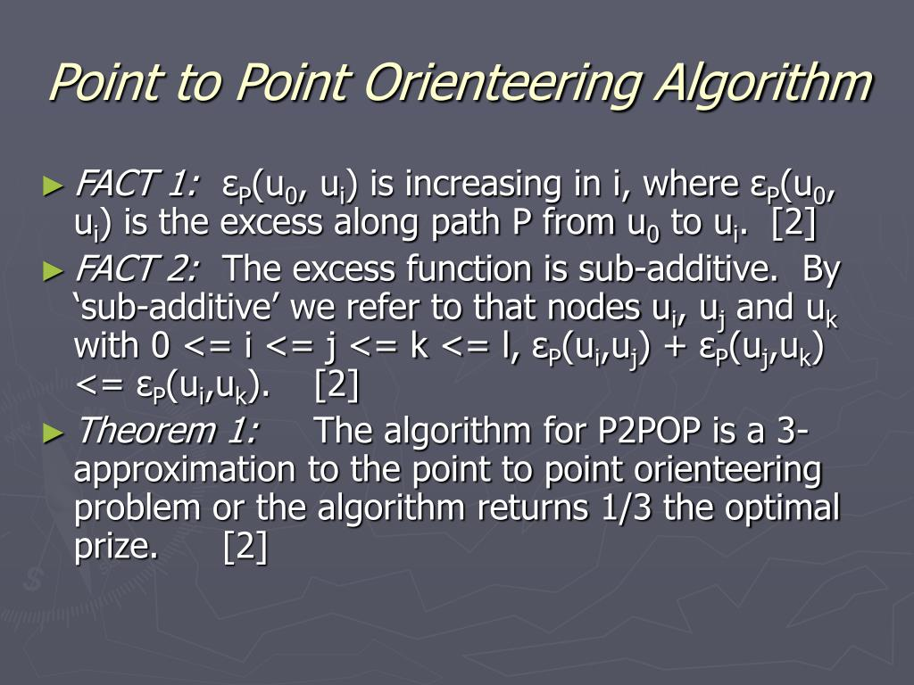 Point to Point Orienteering Algorithm