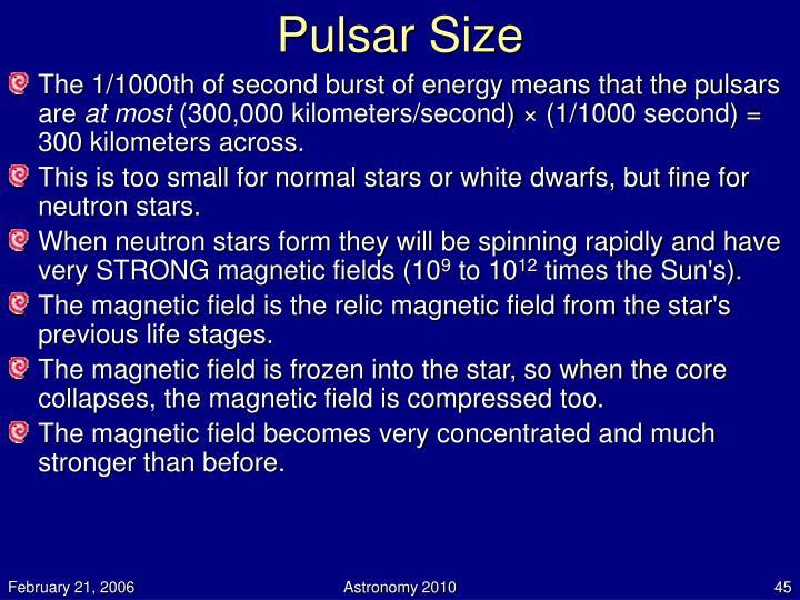Pulsar Size