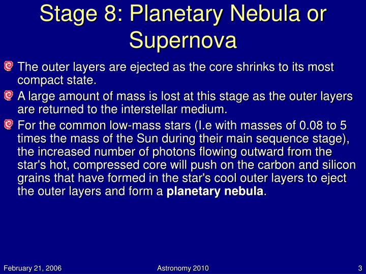 Stage 8 planetary nebula or supernova