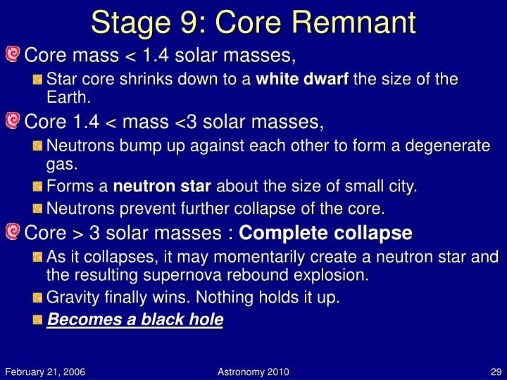 Stage 9: Core Remnant