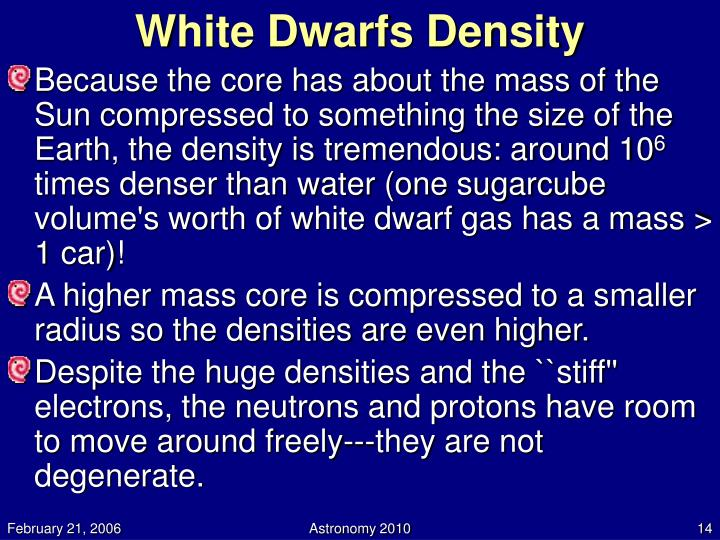 White Dwarfs Density