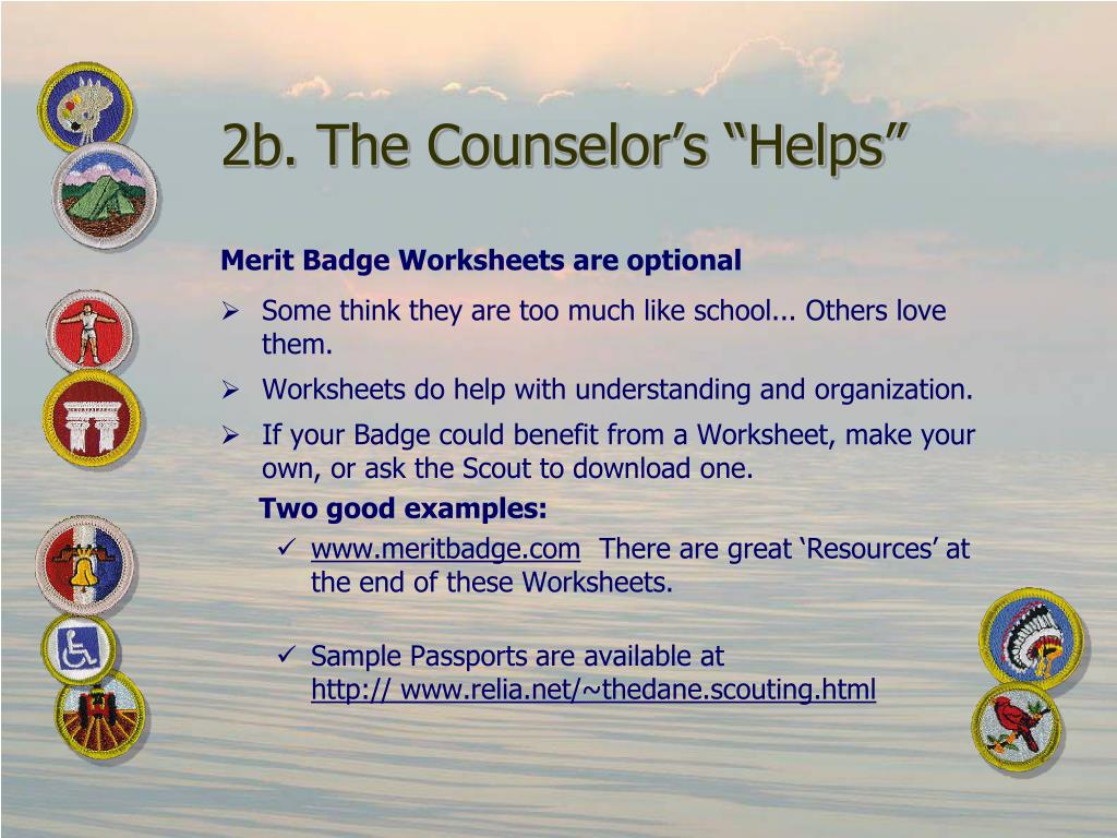 "2b. The Counselor's ""Helps"""