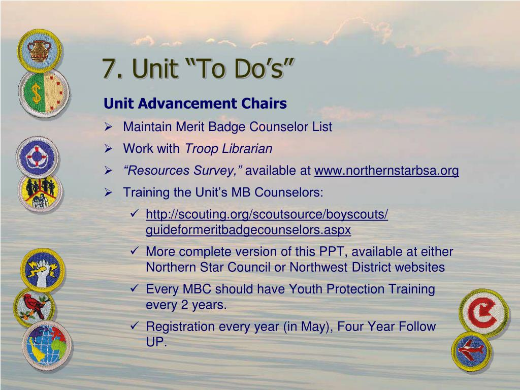 "7. Unit ""To Do's"""