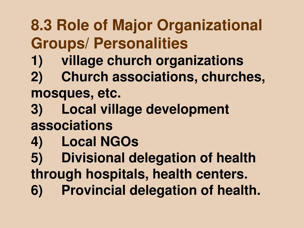 8.3 Role of Major Organizational Groups/ Personalities