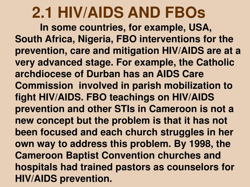 2.1 HIV/AIDS AND FBOs