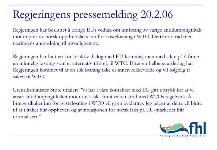 Regjeringens pressemelding 20.2.06
