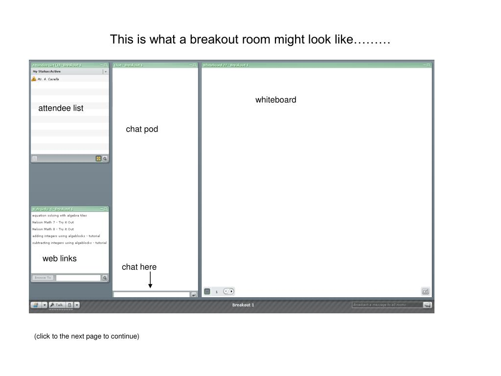 This is what a breakout room might look like………