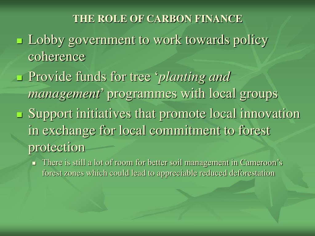 THE ROLE OF CARBON FINANCE