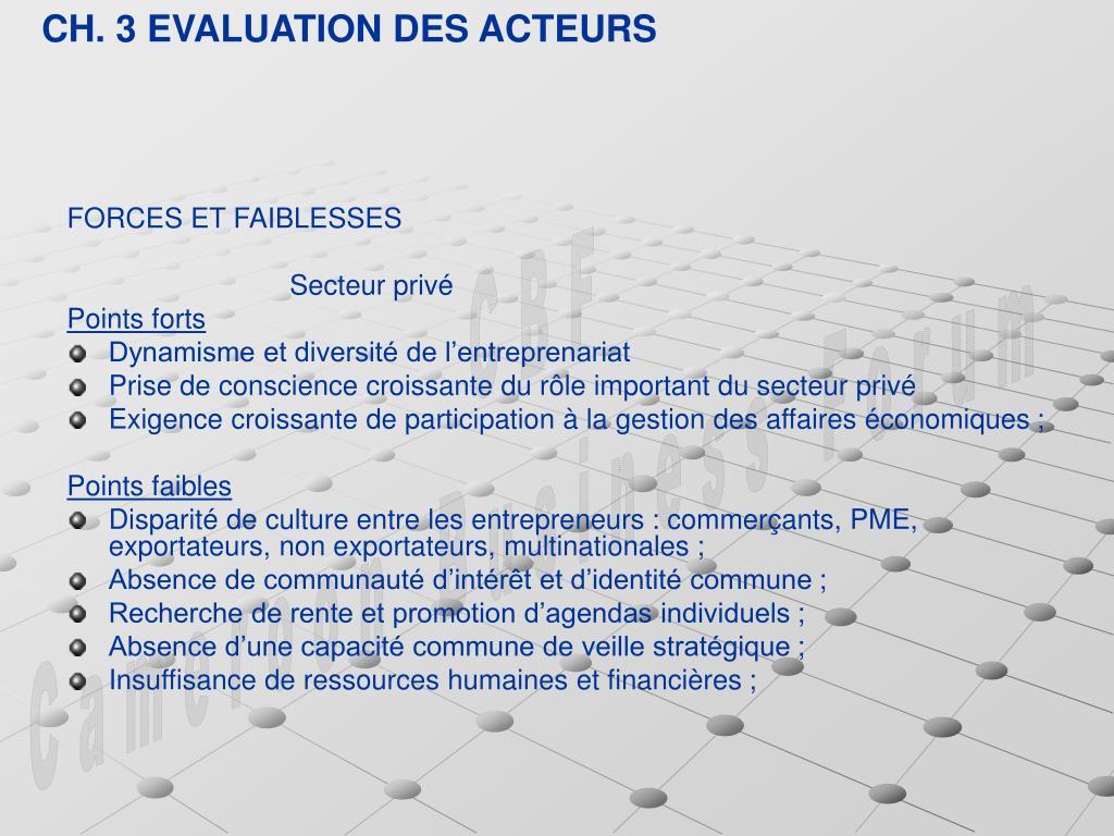 CH. 3 EVALUATION DES ACTEURS
