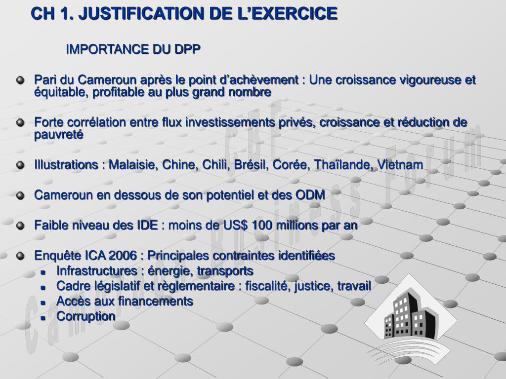 CH 1. JUSTIFICATION DE L'EXERCICE