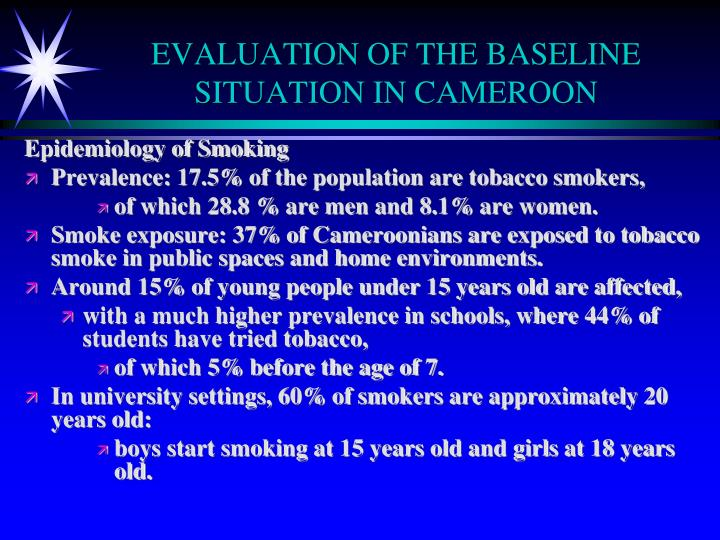 Evaluation of the baseline situation in cameroon