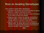 more on avoiding stereotypes